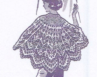Vintage Crochet PATTERN 787 Misses Cape Shawl lacy pattern solid yoke 1960s PDF instant Download