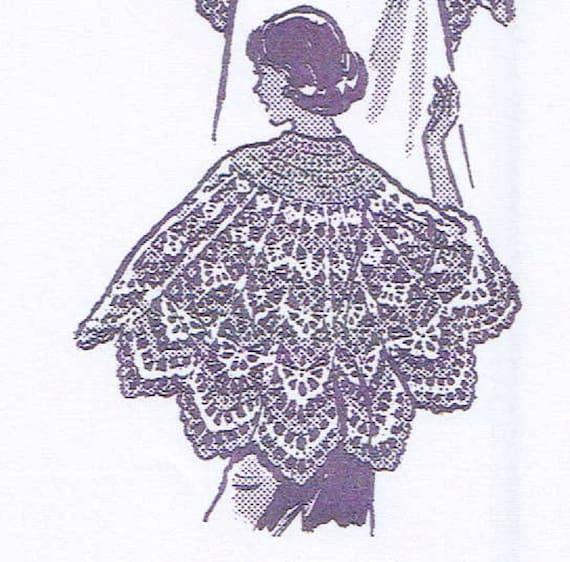 Free Vintage Crochet Cape Patterns : Vintage Crochet PATTERN 787 Misses Cape Shawl lacy pattern