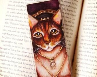Anne Boleyn Cat, Henry VIII Tudor Cat Queen, Laminated Paper Bookmark