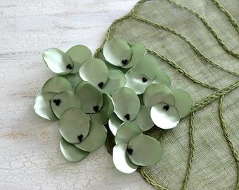 Hydrangea Blossoms-Handmade satin sew on flower appliques (10 pcs)- SAGE GREEN