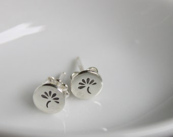 Tiny Sterling Silver Hand Stamped Ear Studs