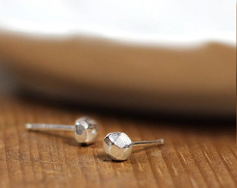 Sterling Facetted Stud Earrings- Free Shipping, sterling earrings, sterling studs, simple studs