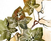 Original Painting in Watercolor on Paper Green and Brown Ivy Leaves - Natural Poem 8x11 in, ooak one of a kind