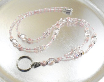 Pink Crystal Breast Cancer Awareness ID Lanyard, Badge Holder, Key Chain Necklace