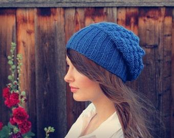 Cobalt Blue Chunky Knit Beanie // Slouchy Knit Textured Beanie // Winter Knit Hat // Knit Slouchy Hat // Gift