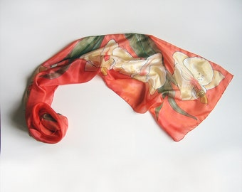 Silk scarf- Pale Yellow Orchids, hand painted silk scarf/ Floral scarves painted, Coral scarf, Handmade scarf, Summer accessory