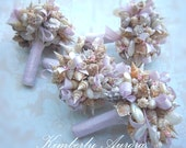 Beach Wedding, Seashell  Bouquet, Shells and Grosgrain, Bridesmaid Size (Esporito Keen Pink Bows Style).  Made to Order Custom Details.