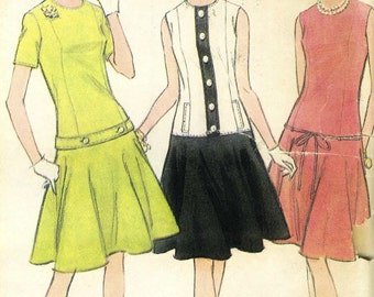 Vintage 60s McCalls 8135 UNCUT Misses Drop Waist Dress with Options Sewing Pattern  Size 12 Bust 32