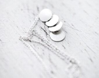 Sequins galore vertical multi silver disc necklace