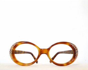 Vintage 60s 70s Jackie O Cat Eye Glasses Rhinestone Bubble Blonde Tortoise MOD Glam ROck Eyeglasses or Sunglasses Never Used On Sale