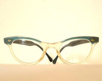 SaLE Clear and Ocean Blue Cat Eye Frames / Vintage 60s Eyewear / Eyeglasses or Sunglasses