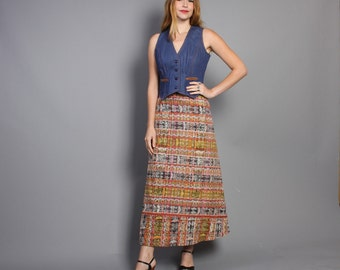70s Ethnic WRAP SKIRT / IKAT Stripe Cotton Maxi, osfm