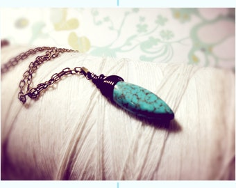Whats Your Point - pointed turquoise and antiqued brass pendant necklace