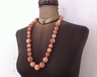 Vintage Plastic  Marbled  Necklace  Autumn Swirl Large Baubles