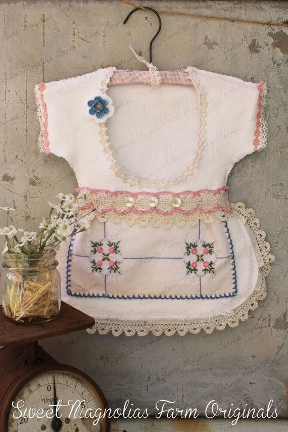 Clothespin Bag Vintage Style Dress Crochet Lace Shabby