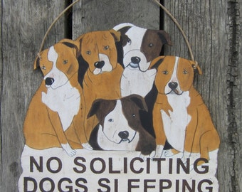 No Soliciting Sign Bulldogs - Dogs Sleeping - Hand Painted Wood