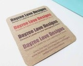 Recycled Kraft Cards, Rustic Mini Cards, Custom Single or Double-sided with rounded or square corners, save the date keepsakes, gift tags