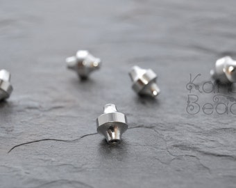 5 Machine Cut Large Bicone, Bright Silver Color Brass Beads 12x10x10mm