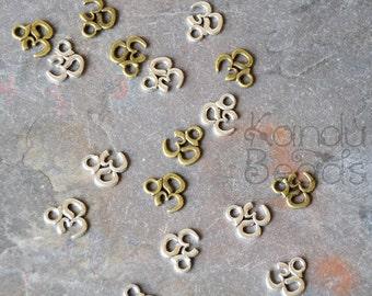 14 Silver Color or Brass Color Metal Ohm, Meditation Charms, pendants, Antique silver color 10x10mm