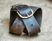 Plain Leather Belt - Distressed Leather Belt with Brass Hardware - Simple Rugged Men Gift for Guys