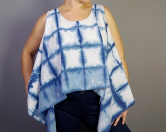 Indigo shibori cropped tank blue and white cotton top