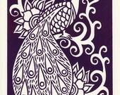 Purple Peacock. Linocut