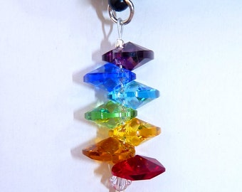 m/w Swarovski Crystal Dust Plug Smart Phone Jewels Stacked CHAKRA Colored HEARTS for Iphone, Samsung by Lilli Heart Designss