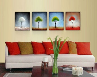 Four Seasons- Abstract Landscape Art Prints-  Summer Fall Winter and Spring Art. Changing colors.Free Shipping inside US
