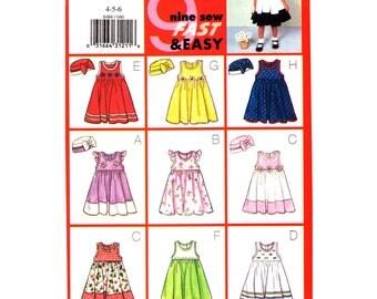 Girls Dress Pattern Butterick 6486  Flared Empire Jumper Ruffle Sleeve Dress Bow Trimmed Hat Girls Size 4 5 6 UNCUT
