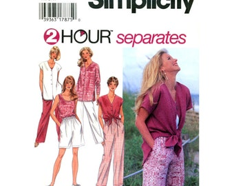Tied Top Shorts Pants Pattern Simplicity 9518 Shirt Pullover Tank Top Walking Shorts Trousers Women Sewing Pattern Size XS S M or L XL UNCUT