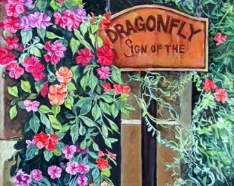 """Dragonfly Original Acrylic Painting- """"Sign of the Dragonfly"""""""