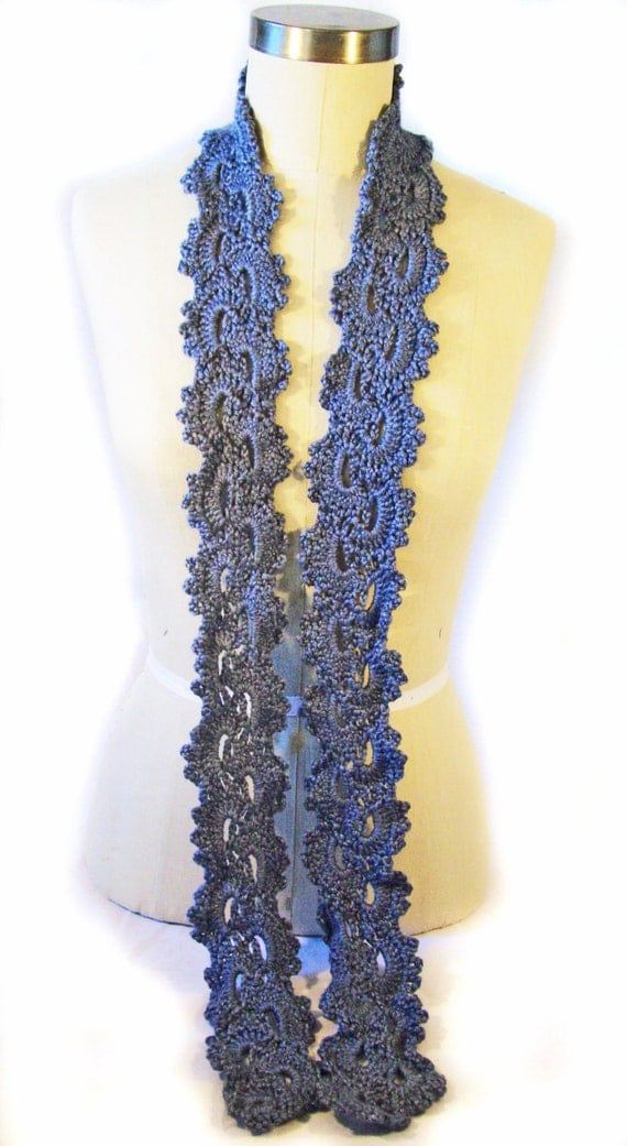 Skinny Scarf Queen Annes Lace Hand Crocheted