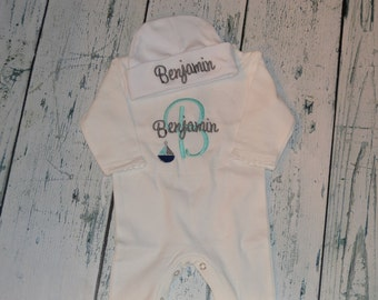 Personalized Infant Sleeper Romper and Cap set Monogrammed Coming Home Outfit Sailboat