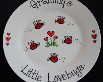 Ladybug Personalized Little Lovebugs Plate, Hand Painted Custom Plaque, Gift for Grandparents, Grandma, Nana, Grandmother, Family Tree, Cute