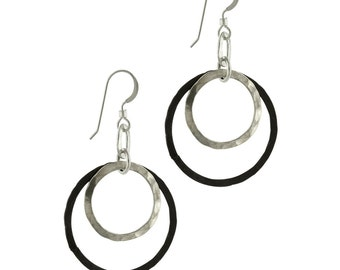 Black Silver Double Circle Earrings