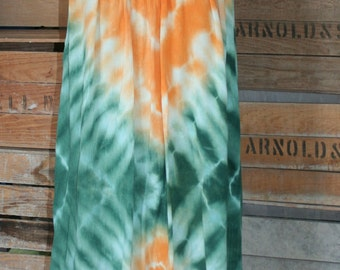 Orange and Green Tie Dye Tent Dress - Bathing Suit Cover Up - Summer Dress -  Embroidered Hemline - Size Medium
