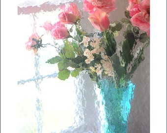 Flower Photography, Impressionistic Roses In Vase, French Cottage Flowers Decor, Shabby Chic Decor, Roses Prints, Summer Garden Floral Print
