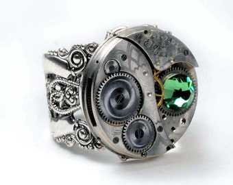 Steampunk Antique 1918 Elgin Watch Movement and Erinite Crystal Ring