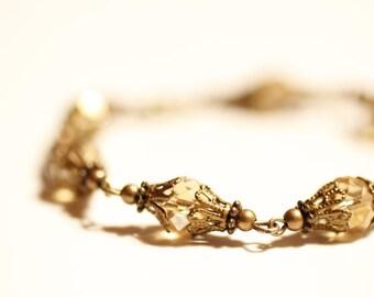 summer fun, bronze bracelet, Swarovski, Amber AB, filigree bead caps, summer, style, beach, Boho, autumn, fall