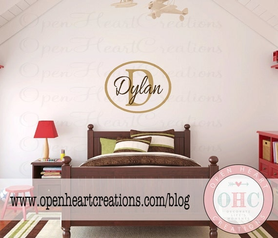 Personalized Initial and Name Vinyl Wall Decal with Modern Oval Border Frame - Baby Name Wall Stickers 22h x 28w FNA0010