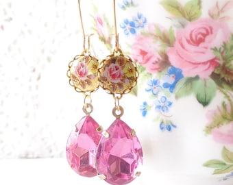 Vintage Pink Rhinestone Earrings - Vintage Limoges Earrings - Pink Rose Earrings - Dangle Earrings - Bridal - Bridesmaid Earrings