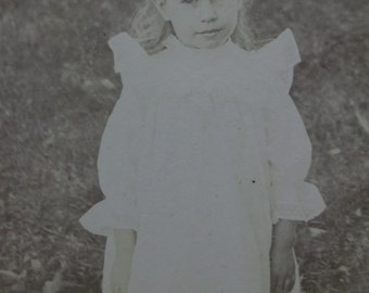 Sweet Long Haired Girl - White Ruffled Dress - Picket Fence - Antique Cabinet Photo