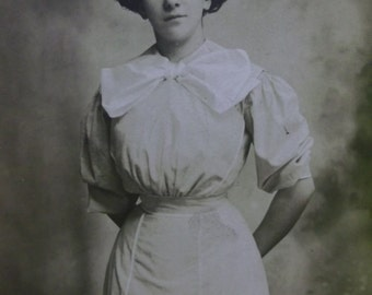 Pretty Lady-Great Fashion Dress-Big Bow-Gibson Hair-Vintage Real Photo Postcard