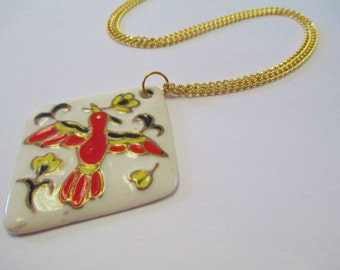 Vintage 70's Hand Painted Ceramic Bird Medallion Necklace DEADSTOCK