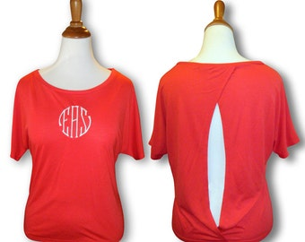 Monogrammed Cutout Back Tee