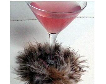 Animal Fuzzy Boa wine glass slipper
