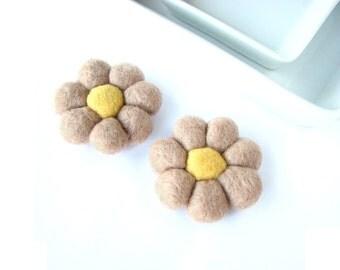 Camel  felted wool flowers