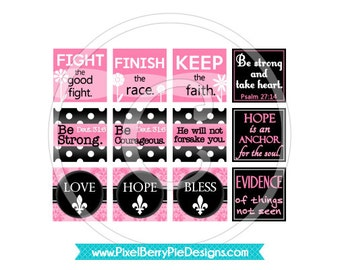 Hope for the Strong Woman / Breast Cancer Awareness (Pink Printable 1 inch Squares) Bible Verse Square Inchies, Digital Collage Sheet
