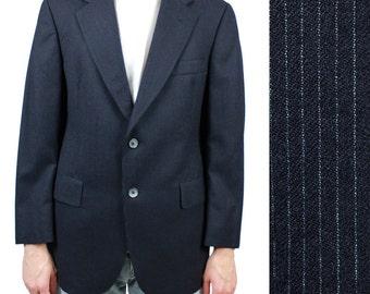Christian Dior Pinstripe Blazer 38S Vintage 60s 70s Dark Midnight Blue Jacket 38 Free US Shipping