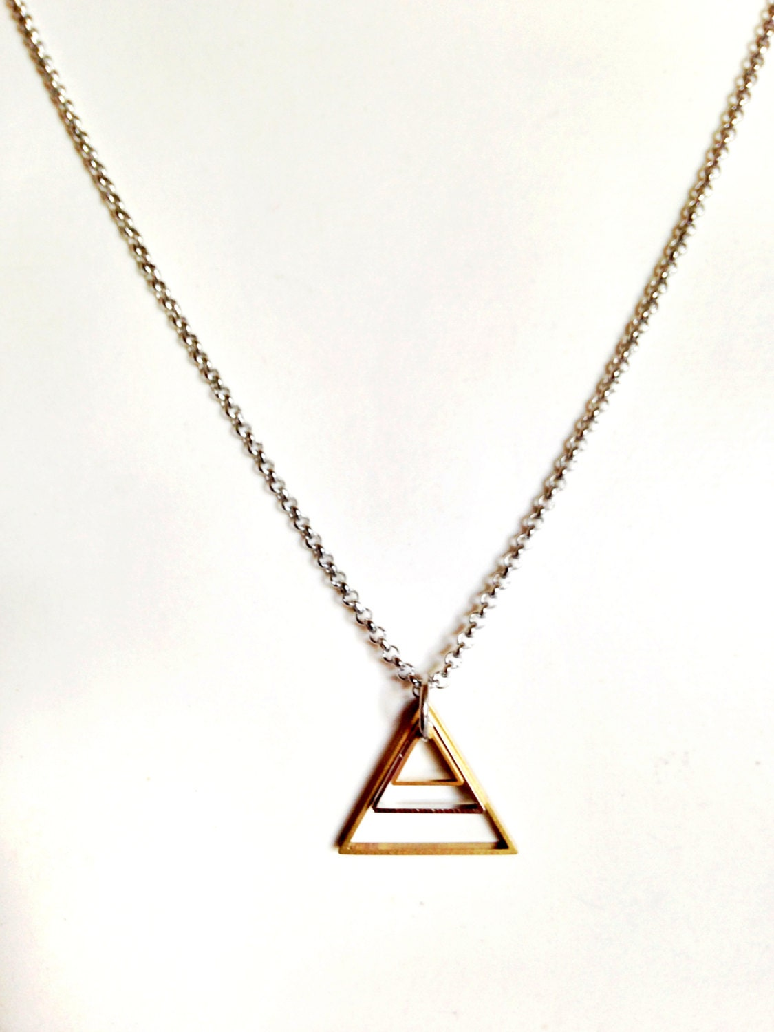mens necklace w triangle pendant mixed metal geometric. Black Bedroom Furniture Sets. Home Design Ideas